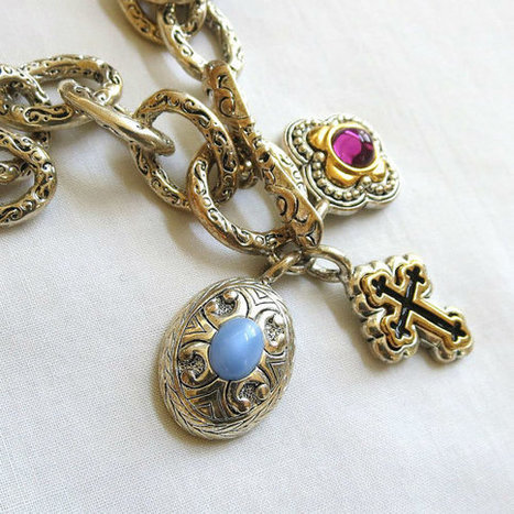 Vintage Silver Tone Black and Gold Cross & Blue and Purple Art Glass Charms Necklace   Favorite Vintage Jewelry   Scoop.it