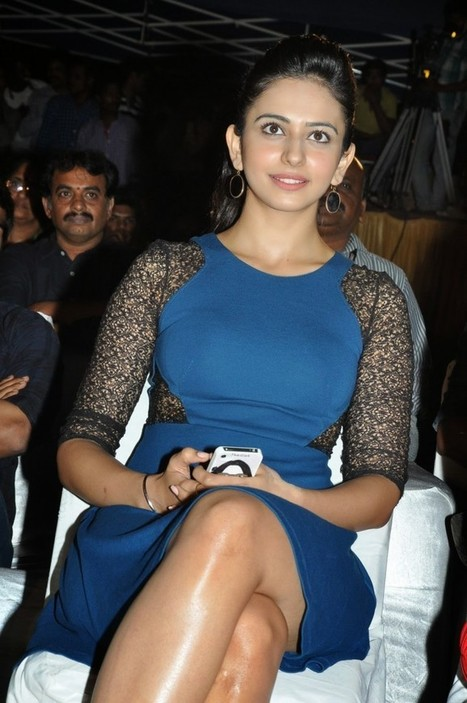 Rakul Preet Singh Pictures Pyar Mein Padipoyane Audio Launch in Blue Mini dress, Crossed legs Pictures, Actress, Bollywood, Tollywood, Western Dresses | Indian Fashion Updates | Scoop.it