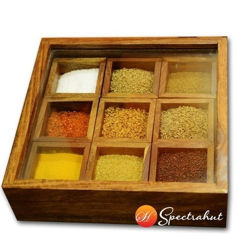 Wooden Spice Box - Sheesham wood Spice Box | wooden Kitchen Products and Accessories | Scoop.it