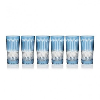 Sky Blue High Ball Glasses, set of 6 - | Coloured Crystal | Scoop.it