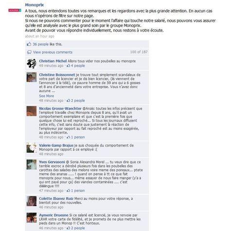 Monoprix : quand un licenciement fait la une de la page fan Facebook   Actualité   Locita   Gotta see it   Scoop.it