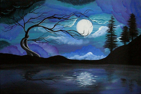 Huge Original Landscape Painting- 20 X 30 in. Hallelujah Please see close Ups - angiec tree haunting surreal moon painting | Humanities Foundation | Scoop.it