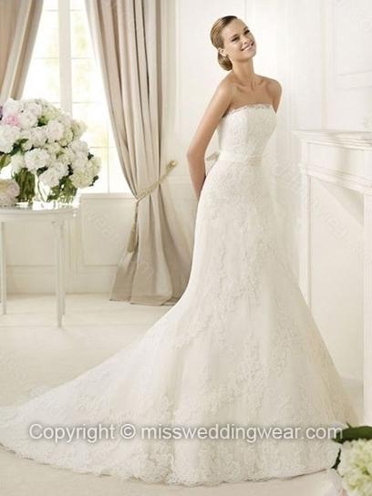 Trumpet/Mermaid Strapless Lace Satin Court Train Sashes / Ribbons Wedding Dresses   2014 wedding dress online   Scoop.it
