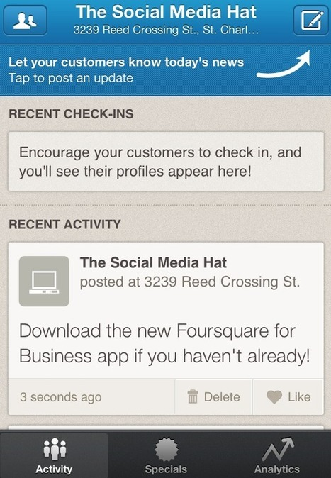 Foursquare provides businesses with a dedicated app | The Social Media Hat | Topics Of Interest To Salespeople | Scoop.it