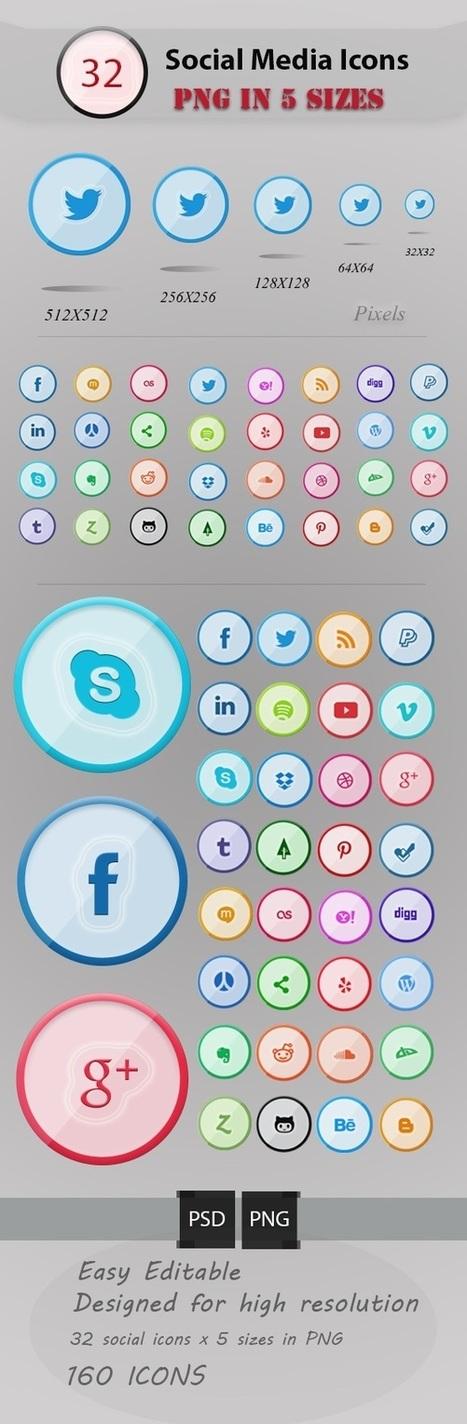 32 Free Social Media Icons Set For Designers | Free social media icons sets | Graphic Design Inspiration | SM, webdesign, webdev & fun! | Scoop.it