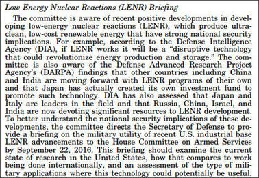素人が知りたい常温核融合: 米国の下院軍事委員会が国防長官に対して9月22日までに常温核融合の軍事利用についての報告を要請 | LENR revolution in process, cold fusion | Scoop.it