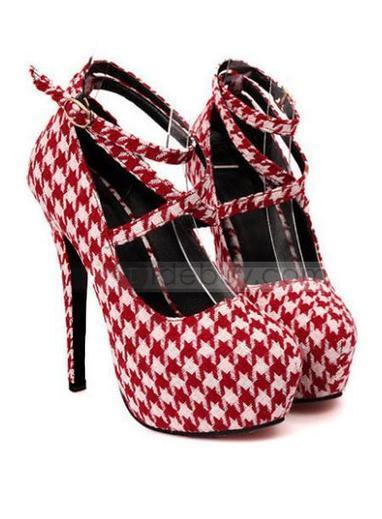 Fabulous Top Quality Round Toe Lace-Up Plaid Stiletto Platform Women Shoes | fashion | Scoop.it