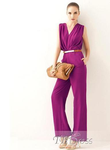 $ 33.39 Noble Smart Rose V-neck Sleeveless High Quality Long Jumpsuit | fashion | Scoop.it