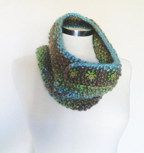 Ready to ship, cyber monday, Crochet Scarflette Neckwarmer with wood floral button, green, beige, turquoise neckwarmer, collar, scarf | ✿ The Box of Magic ✿ | Scoop.it