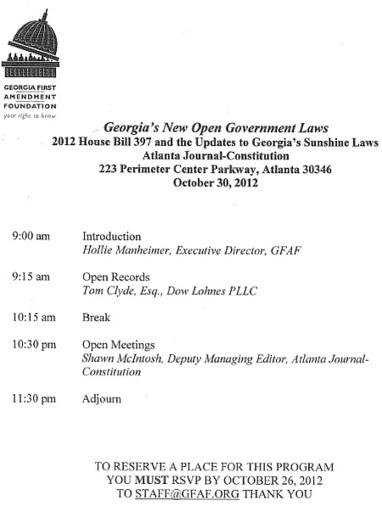 Heneghan's Dunwoody Blog: Georgia First Amendment Foundation ...   Dunwoody, Sandy Springs and Brookhaven   Scoop.it