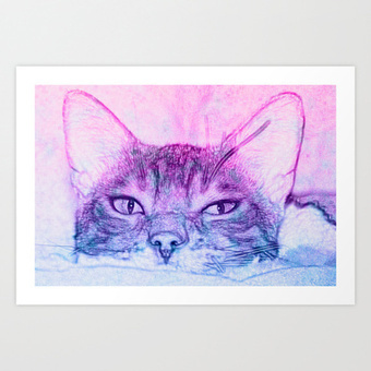 Cool Summer Cat Art Print by FlaminCat Designs | New From Society6 | Scoop.it
