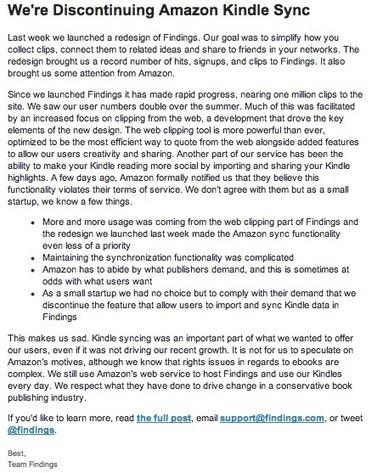 Le réseau d'annotations Findings, nouvelle victime de la licence d'Amazon... | SoBookOnline | SocialWebBusiness | Scoop.it