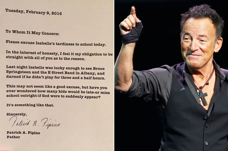 Cool dad writes late note for daughter after Springsteen concert - New York Post | Bruce Springsteen | Scoop.it