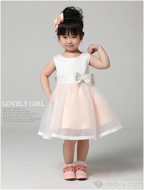 Cute Strapsless Tea-length Boeknot Sashes Flower Girl Dress   beauty-lover   Scoop.it