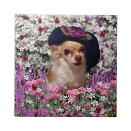 Chi Chi in Flowers - Chihuahua Puppy in Cute Hat Tiles from Zazzle.com | Fanciful Animals to Delight You | Scoop.it