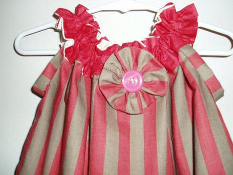 Stunning Handmade Girls Sundress in dark red and taupe stripes, a flower embellish hem, flower SIZE 3 | Cool Stuff | Scoop.it
