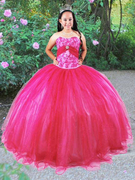 BallGown Sweetheart Tulle Satin Floor-length Fuchsia Appliques Quinceanera Dress at sweetquinceaneradress.com | PUFFY QUINCEANERA DRESSES | Scoop.it