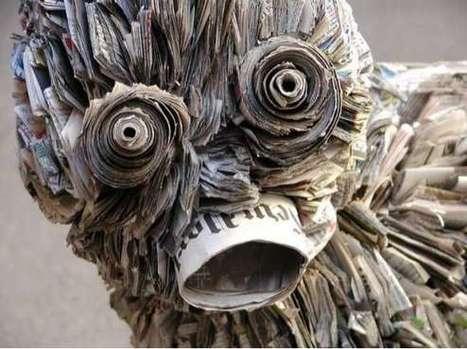 Detailed Newspaper Sculptures | Class 8 Recyclable Art | Scoop.it