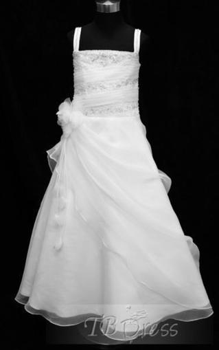 $ 112.99 Amazing Square  A-line  Floor-Length  Beaded Pick-ups Flower Girl Dresses | kid dress | Scoop.it