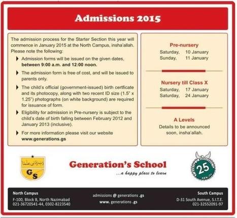 Generation's School Karachi Admissions 2015 | LearningAll | www.learningall.com | Scoop.it