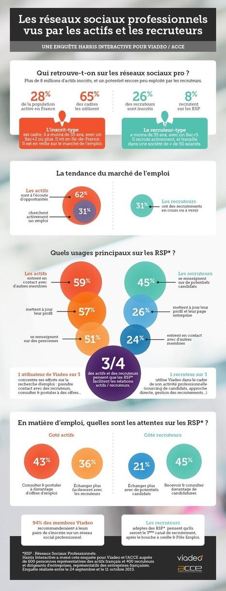 [Infographie] Etude Viadeo :  Les réseaux sociaux professionnels vus par les actifs et les recruteurs | Social Media Curation par Mon Habitat Web | Scoop.it