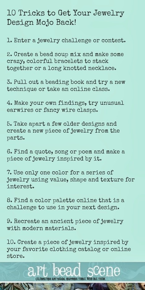 10 Awesome Tips to Get Your Beading Mojo Back! - Art Bead Scene | Beadwork | Scoop.it