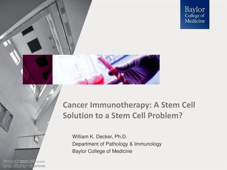 Cancer Immunotherapy: A Stem Cell Solution to a Stem Cell Problem?, Medical | wesrch | Scoop.it