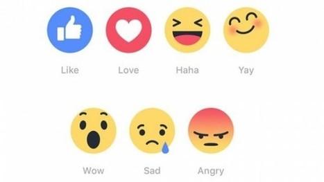 Facebook komt met vijf emoticons naast 'vind ik leuk' - Frankwatching | Sociale netwerken | Scoop.it