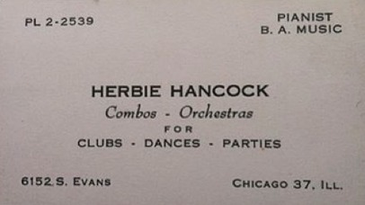 Herbie Hancock's business card circa 1960 | Jazz Plus | Scoop.it