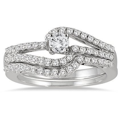 3/4 Carat Diamond Bridal Set in 10K White Gold | Jewelry Mall | Scoop.it