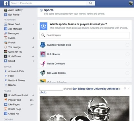 #Facebook : un newsfeed thématique et une marketplace en test | Environnement Digital | Scoop.it