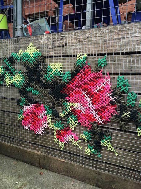 Delicate #Cross-Stitched #Flowers Pop Up on the #Streets of #Madrid #art #streetart | Luby Art | Scoop.it