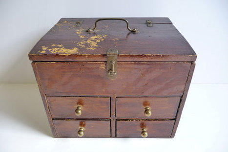 Antique VTG Cigar Box Wooden Chest w/ lid & 4 drawers Primitive Tobacco Cubanola | Wooden Smoke Pipe | Scoop.it