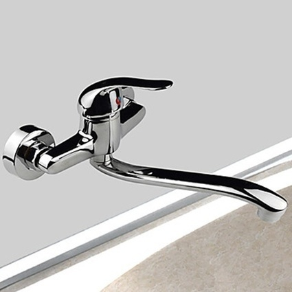 Single Handle Two Holes Wall Mounted Brass Chrome Rotatable Kitchen Faucet -- Faucetsmall.com | Bathroom Sink Faucets & Kitchen Faucets | Scoop.it