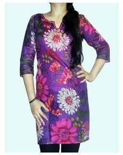 Flower Print Purple Kurti | EdayGarments- Buy Dresses, skirts, tops, Tunics | Scoop.it