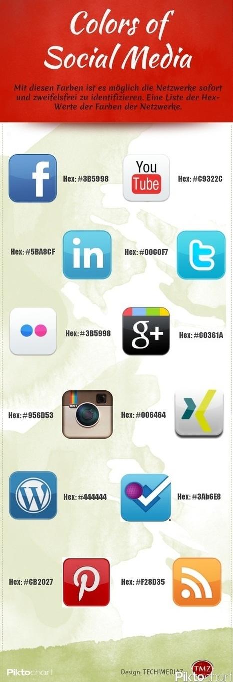 Les codes couleur hexadécimaux des principaux réseaux sociaux : Facebook, Twitter, Google +... | Outils CM, veille et SEO | Scoop.it