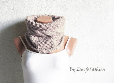 Chunky Cable Knit Cowl Scarf, Cozy Scarf Vanilla, Cable Knit Neck Warmer, SCARVES, Winter Accessory Woman, Teens, Gift for Her by EmofoFashion | women fashion | Scoop.it
