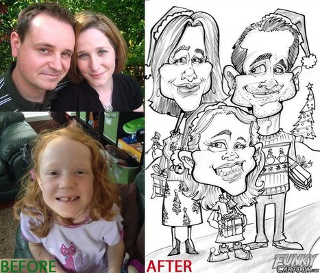 Our latest caricature Family Christmas Caricature | Custom Caricatures | Scoop.it