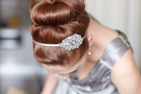 Dress up a sassy sock bun with a bejeweled accessory. | Wedding Hairstyles | Scoop.it
