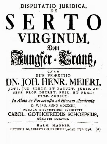 Disp. inaug. iur. de serto virginum | Early modern philosophy (mostly natural) | Scoop.it