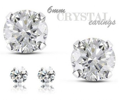 Pair of 6mm Round Clear Crystal Stud Earrings from Ikoala Jewellery Deal | Daily Deals Online | Scoop.it