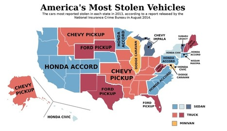 Map: The most-stolen vehicle in every state | Corrupt elected officials, unqualified coroner | Scoop.it