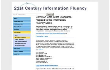 Common Core State Standards and Information Fluency | Information Literacy & Digital Literacy | Scoop.it