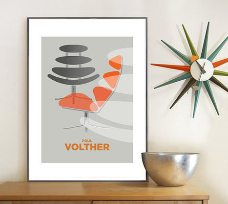 Retro poster - Poul Volther Corona Chair, Mid century modern, poster print, Eames era, A3 | Designstoler | Scoop.it