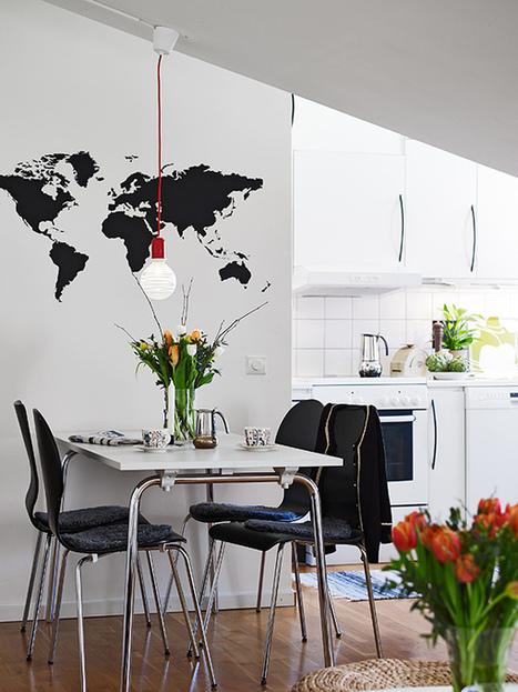 Sticker Map Monde vu dans un salon scandinave | Stickerzlab, des astuces et des idées déco pour tous | décoration & déco | Scoop.it