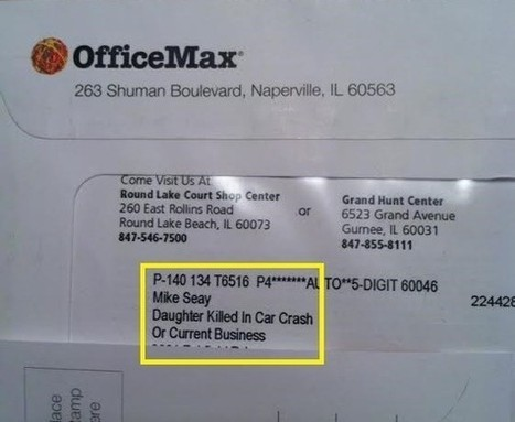 Dad gets OfficeMax mail addressed 'Daughter Killed in Car Crash' | Filter Bubblicious | Scoop.it