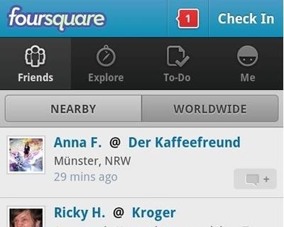 Foursquare s'améliore sous Android | toute l'info sur Foursquare | Scoop.it