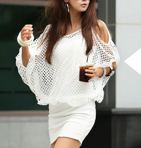 Summer clothes » Solid Color Hollow Out Ladylike Style Packet Buttock Cut Out Bat-Wing Sleeves Dress For Women   Summer clothes   Scoop.it