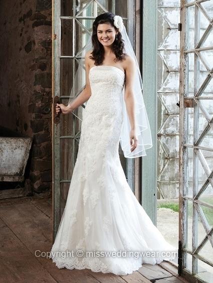 Sheath/Column Strapless Lace Satin Sweep Train White Appliques Wedding Dresses   2014 wedding dress online   Scoop.it