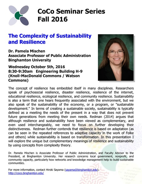 Next CoCo Seminar on Oct. 5th by Pam Mischen: The Complexity of Sustainability and Resilience | Center for Collective Dynamics of Complex Systems (CoCo) | Scoop.it